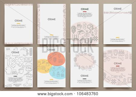 Corporate identity vector templates set with doodles crime theme