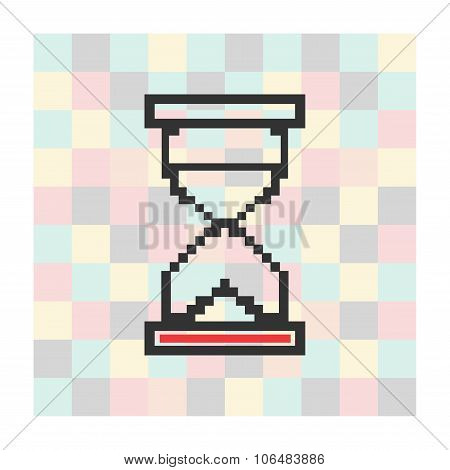 Vector pixel icon hourglass on a square background
