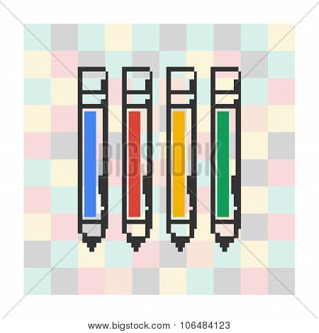 Vector pixel icon pen on a square background