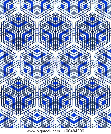 Seamless Optical Ornamental Pattern With Three-dimensional Geometric Figures. Intertwine Colored