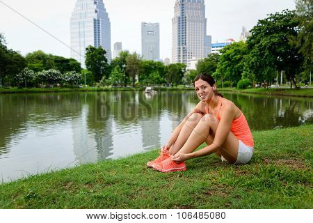 Sporty Woman Ready For Running At City Park