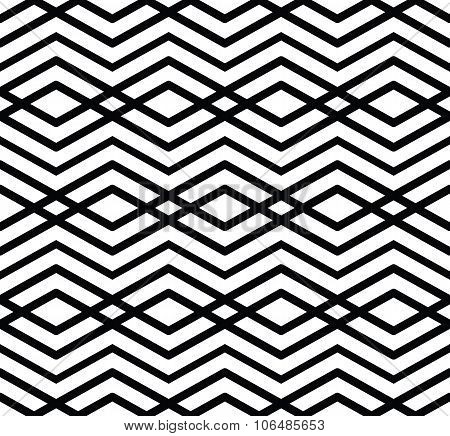 Monochrome Visual Abstract Textured Geometric Seamless Pattern. Symmetric Black And White Vector Tex