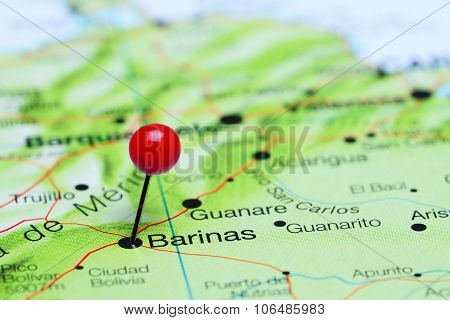 Barinas pinned on a map of America