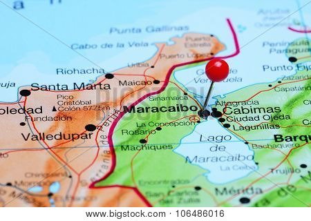 Maracaibo pinned on a map of America