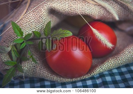 Tomatoes in a sack on the table