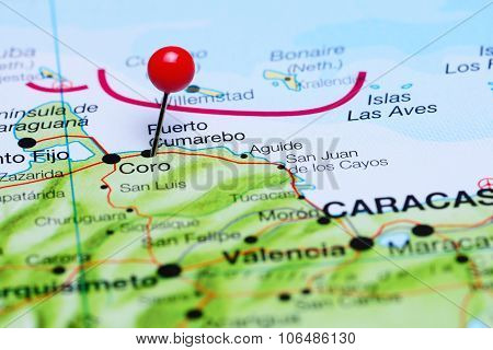 Puerto Cumarebo pinned on a map of America
