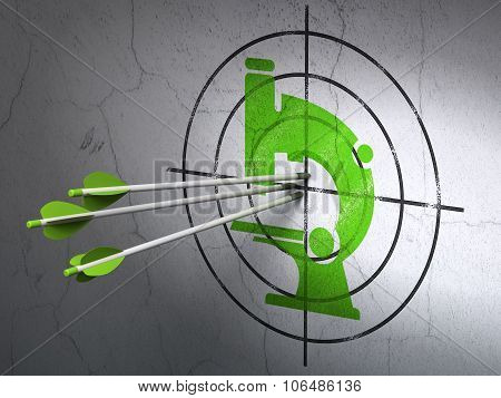 Science concept: arrows in Microscope target on wall background