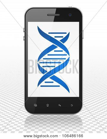 Science concept: Smartphone with DNA on display
