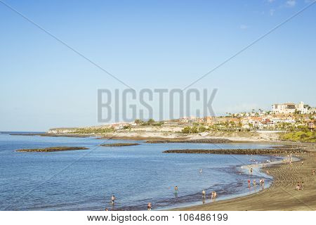 Sandy Beach, View Of The Duke Castle, Costa Adeje, Tenerife, Spain