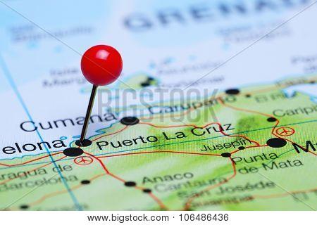 Puerto la Cruz pinned on a map of America