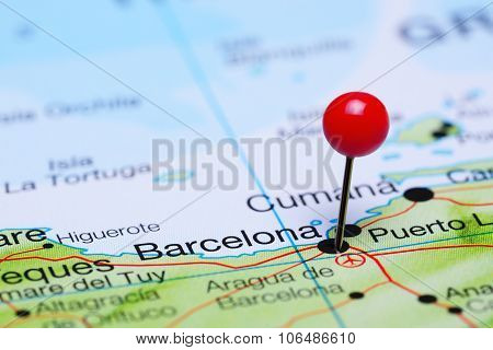 Barcelona pinned on a map of America