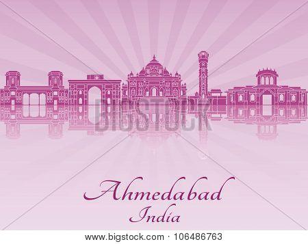 Ahmedabad Skyline In Purple Radiant Orchid