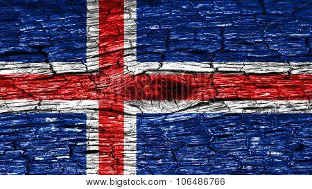 Flag of Iceland, Icelandic flag painted on wood texture