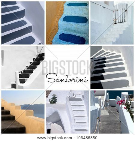 Travel Photo Collage With Detail Of Greek Old Steps, Santorini Island, Greece.