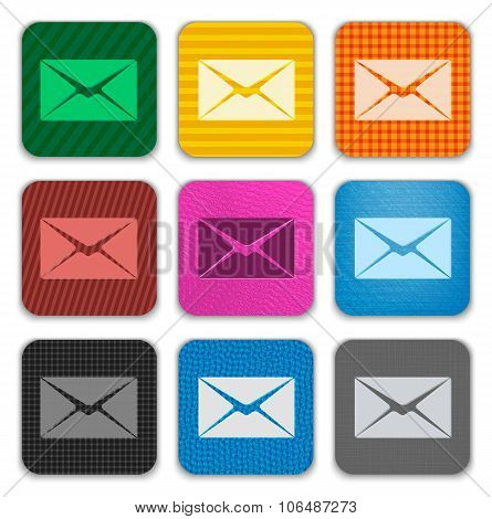 Envelope Sign On Colorful Textured App Icons