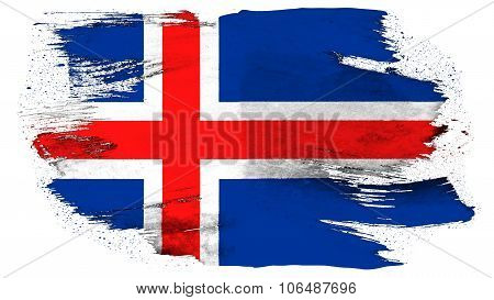 Flag of Iceland, Icelandic flag painted with brush on solid background, paint texture.