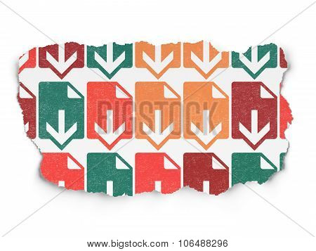 Web design concept: Download icons on Torn Paper background