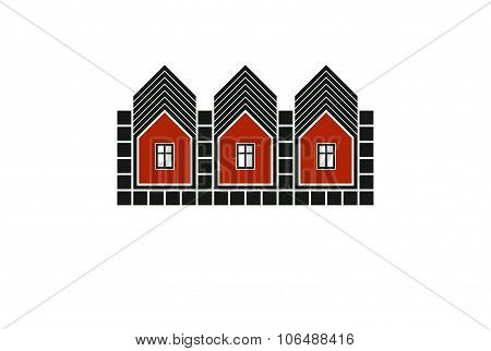 Abstract Simple Country Houses Vector Illustration, Homes Image. Touristic And Real Estate Idea, Thr