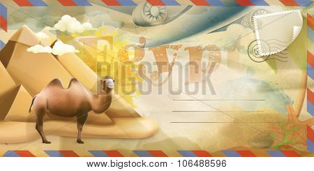 Background travel, Egypt vector postcard