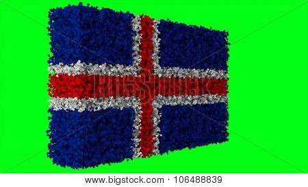 Flag of Iceland, Icelandic flag made from leaves