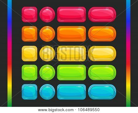 Cool colorful vector glossy buttons set