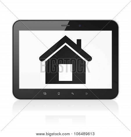 Finance concept: Tablet Computer with Home on display