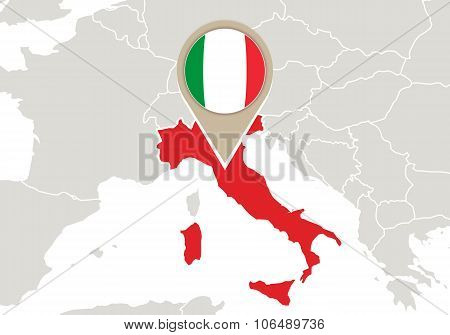 Italy On Europe Map
