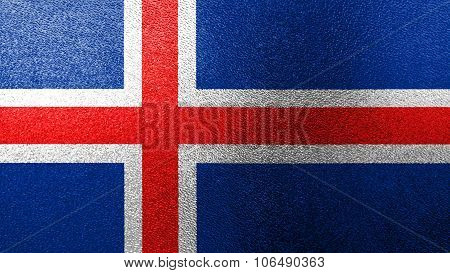 Flag of Iceland, Icelandic flag painted on glass.