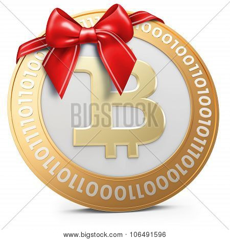 3D Golden Bitcoin Coin With Red Bow