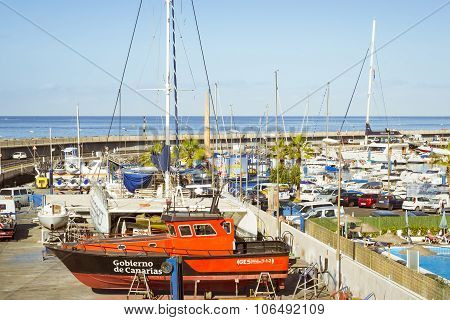 Luxury yachts on the dock at the yacht club Puerto Colon, Costa Adeje, Tenerife