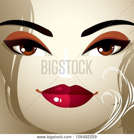 Face Makeup. Lips, Eyes And Eyebrows Of An Attractive Woman Displaying Doubt. Fashionable Female Hai