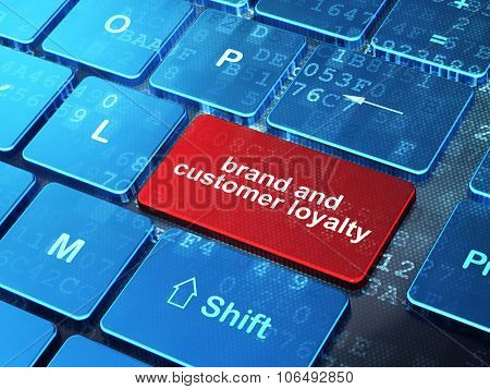 Finance concept: Brand and Customer loyalty on computer keyboard background