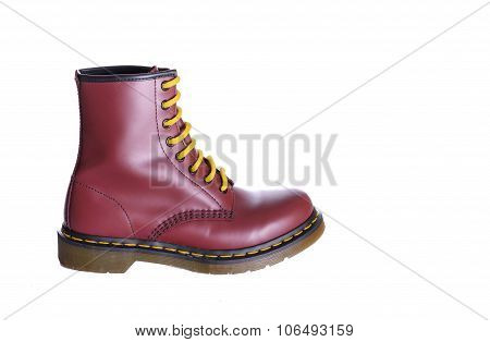 Classic Cherry Red Oxblood Lace-up Boot With Yellow Laces