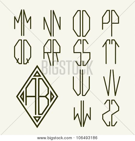 Set of templates of letters to create a two-letter monogram in the Art Nouveau style