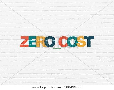 Finance concept: Zero cost on wall background
