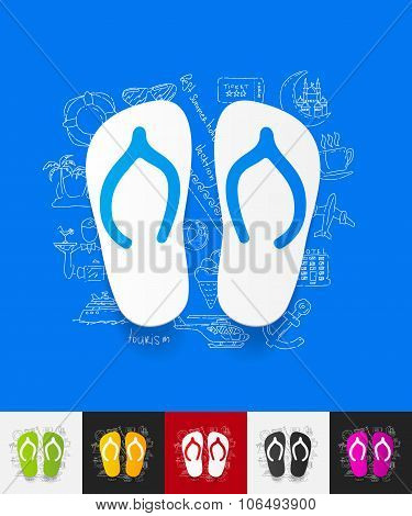 slippers paper sticker with hand drawn elements