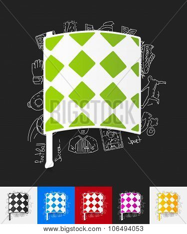 linesman flag paper sticker with hand drawn elements