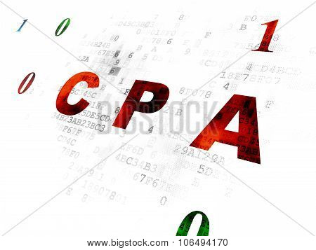 Finance concept: CPA on Digital background