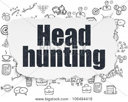 Business concept: Head Hunting on Torn Paper background