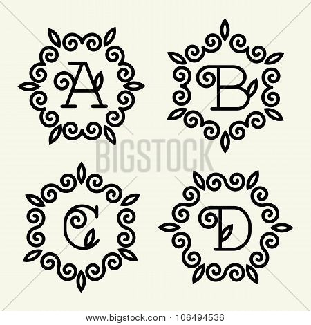 Set of modern monogram style linear with the letters A, B, C, D