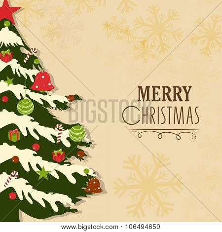 Greeting card with colorful ornaments decorated Xmas Tree for Merry Christmas celebration.
