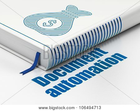 Finance concept: book Money Bag, Document Automation on white background