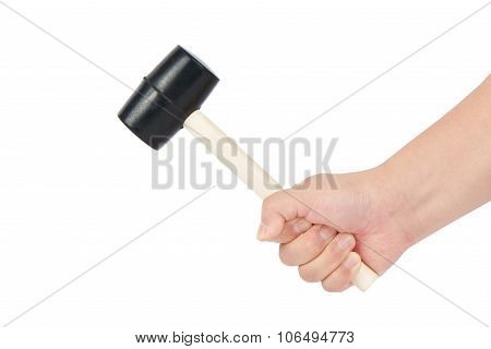 Holding A Rubber Hammer
