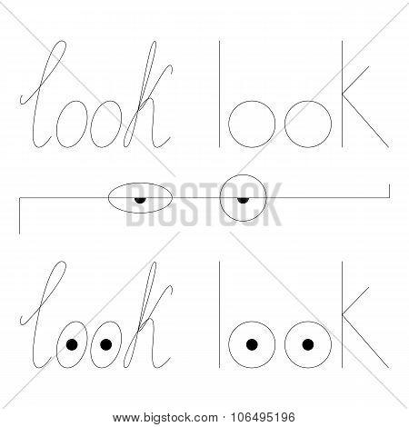 Set Of Look Letterings