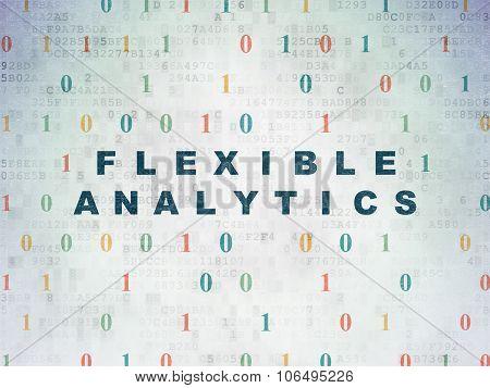 Finance concept: Flexible Analytics on Digital Paper background