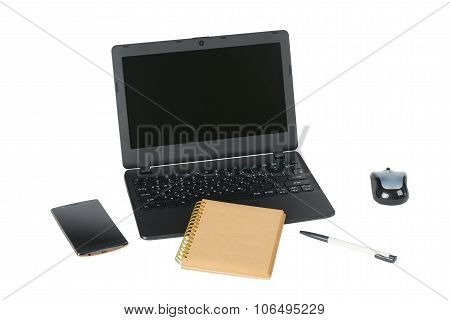 Smartphone, Laptop Computer And Memo Note With Ballpoint Pen