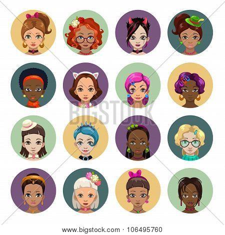 Cute cartoon girls avatars