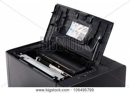 Laser Printer With Opened Front Cover
