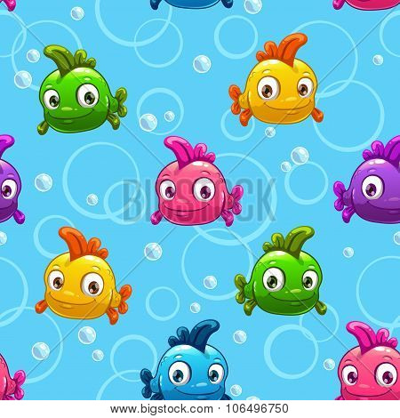 seamless pattern with cartoon colorful fishes