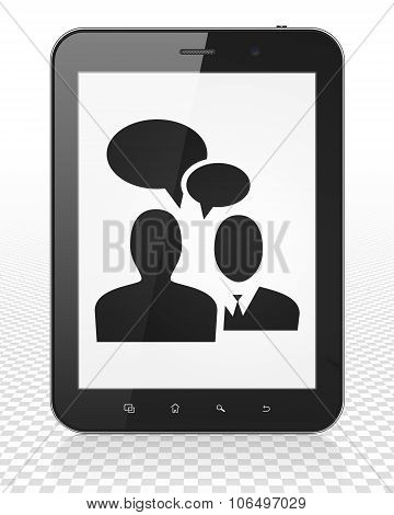 Business concept: Tablet Pc Computer with Business Meeting on display